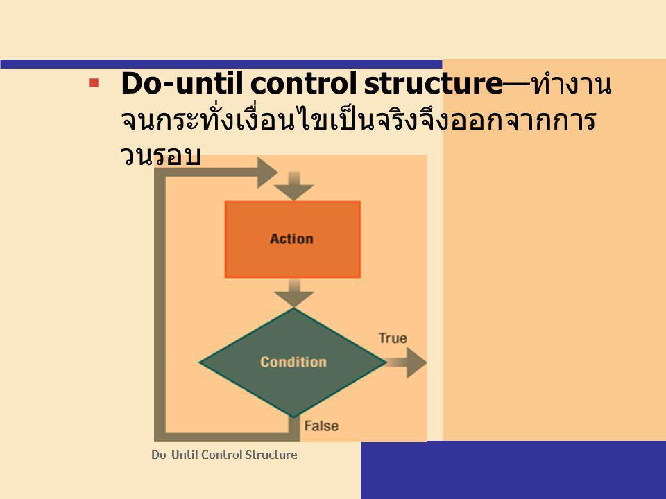 Do-until control structure—ทำงานจนกระทั่งเงื่อนไขเป็นจริงจึงออกจากการวนรอบ