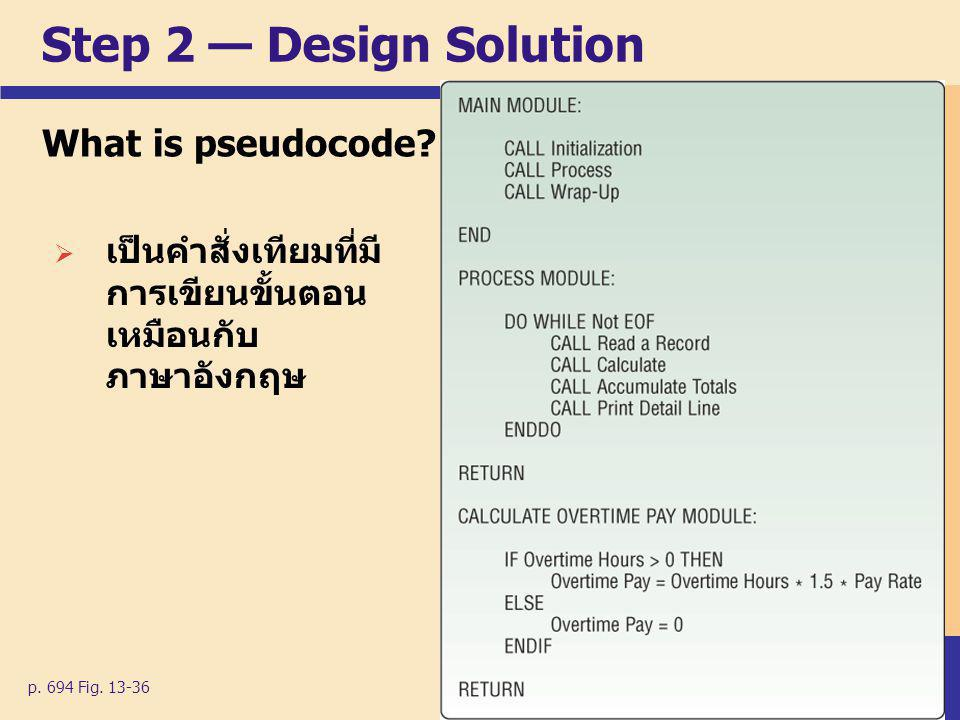 Step 2 — Design Solution What is pseudocode