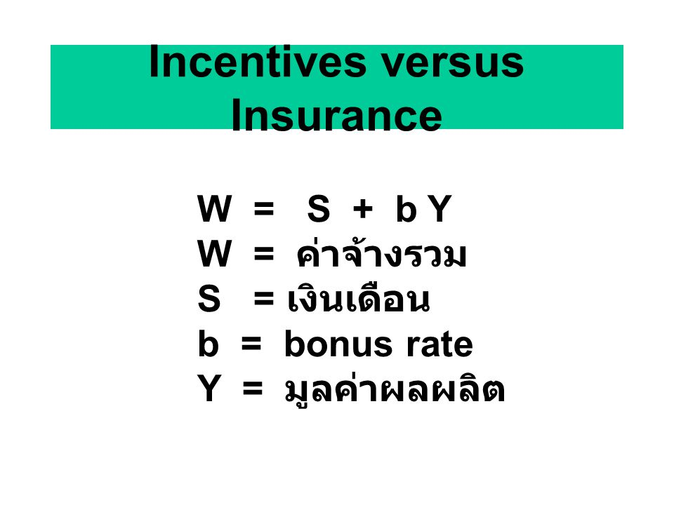 Incentives versus Insurance