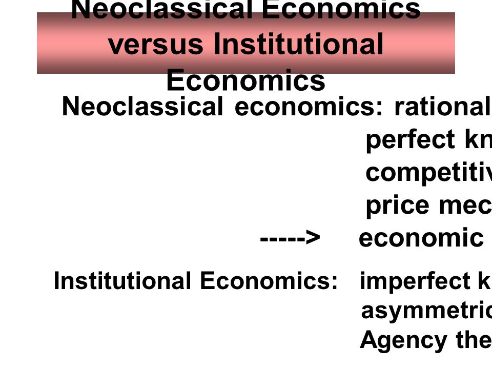 Neoclassical Economics versus Institutional Economics