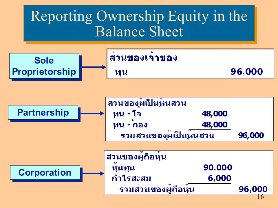 Reporting Ownership Equity in the Balance Sheet