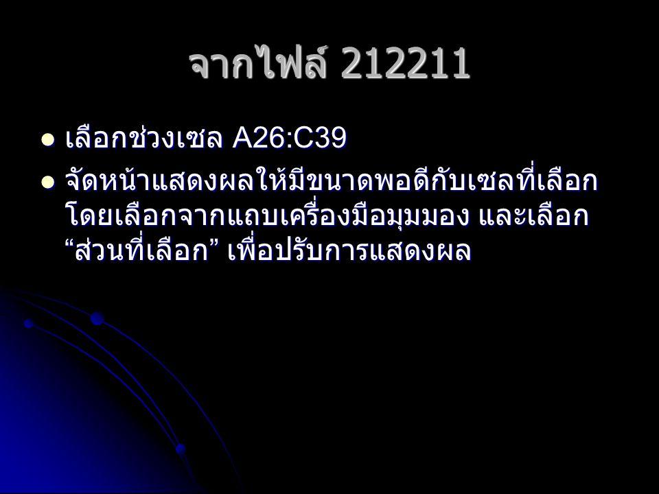 จากไฟล์ 212211 เลือกช่วงเซล A26:C39
