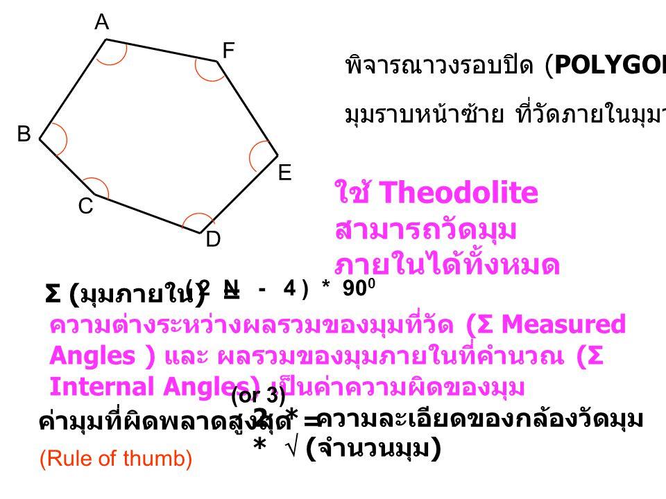 ใช้ Theodolite สามารถวัดมุมภายในได้ทั้งหมด