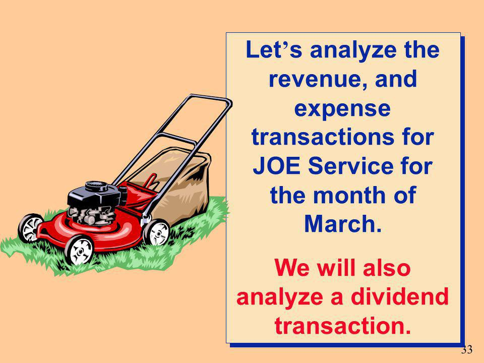 We will also analyze a dividend transaction.