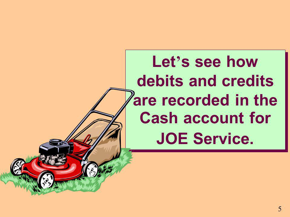 Let's see how debits and credits are recorded in the Cash account for JOE Service.