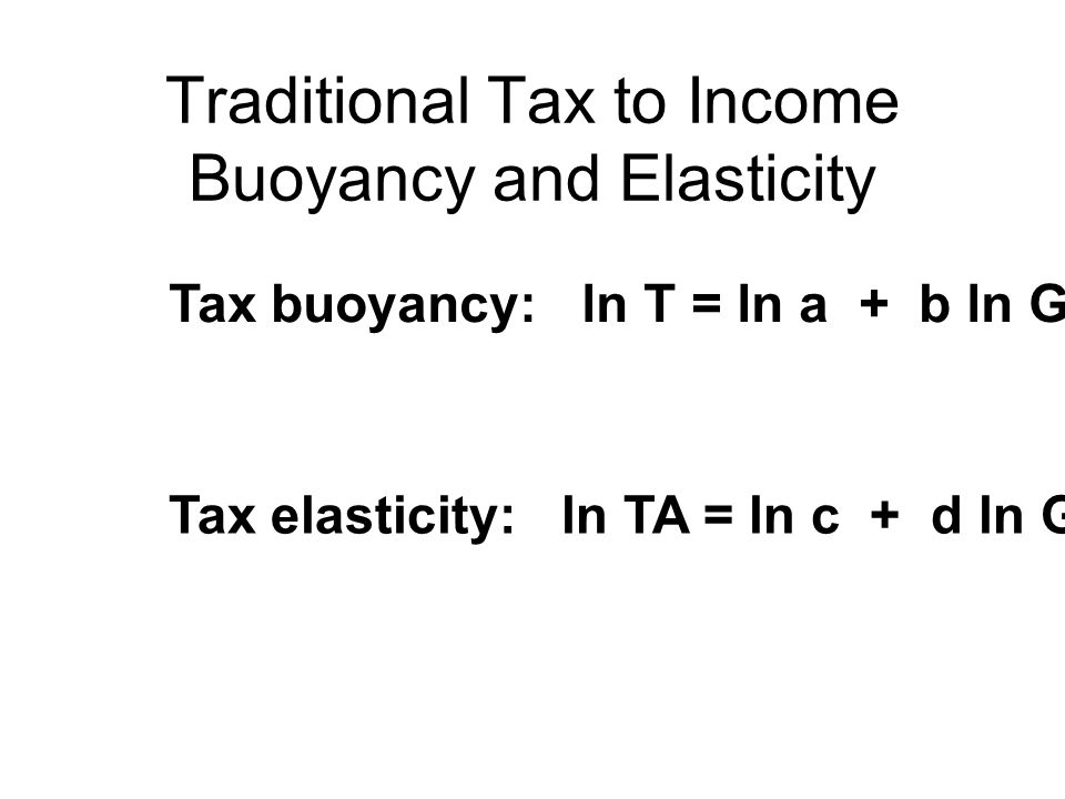 Traditional Tax to Income Buoyancy and Elasticity