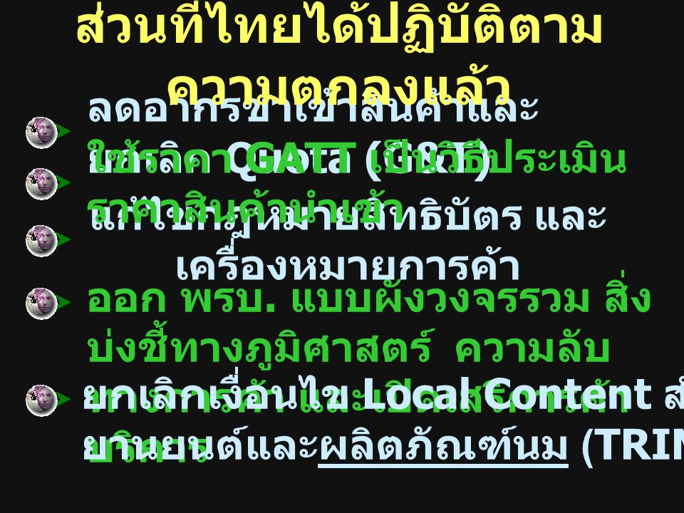 ส่วนที่ไทยได้ปฏิบัติตามความตกลงแล้ว