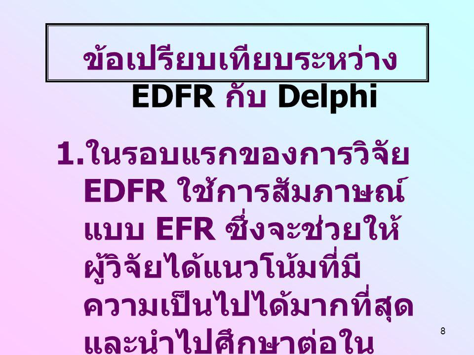 ข้อเปรียบเทียบระหว่าง EDFR กับ Delphi