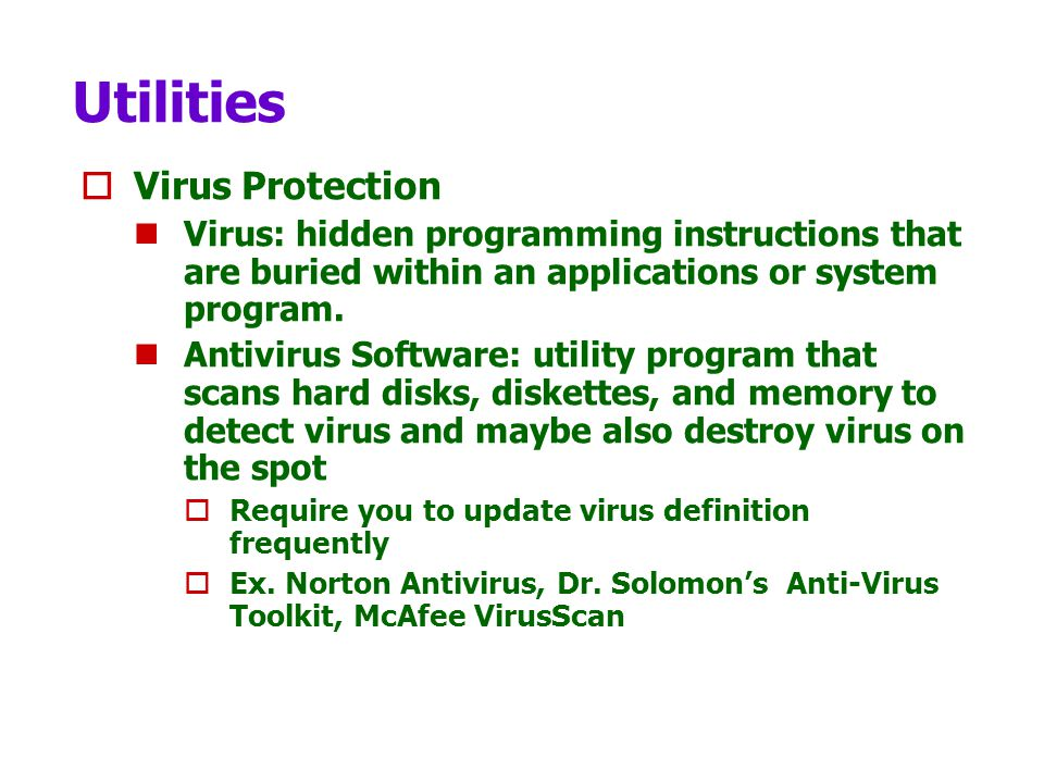 Utilities Virus Protection