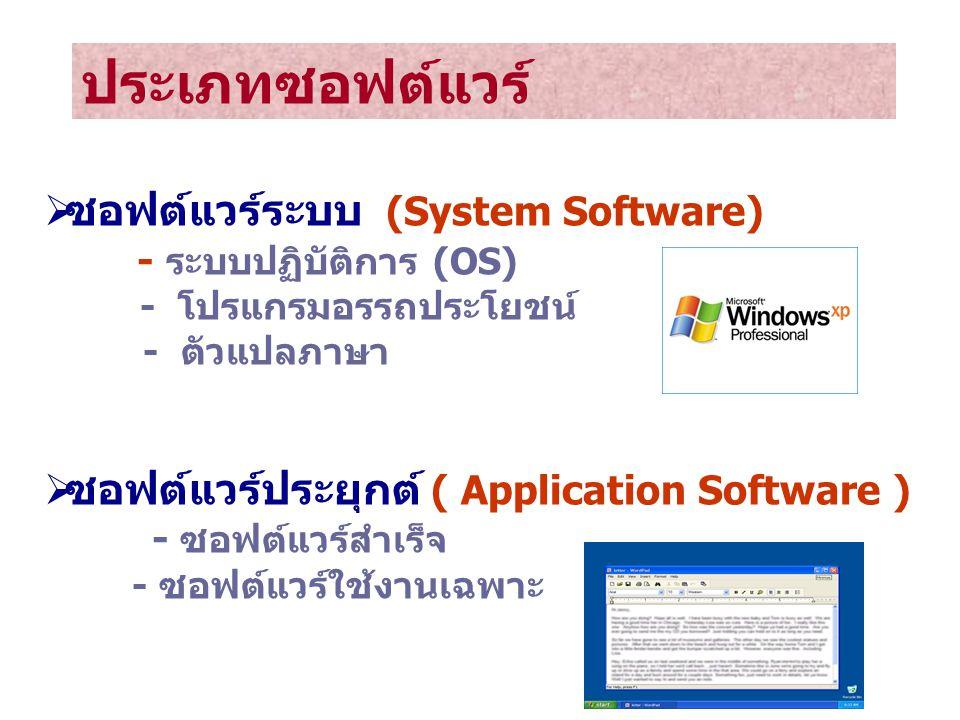 ประเภทซอฟต์แวร์ ซอฟต์แวร์ระบบ (System Software)