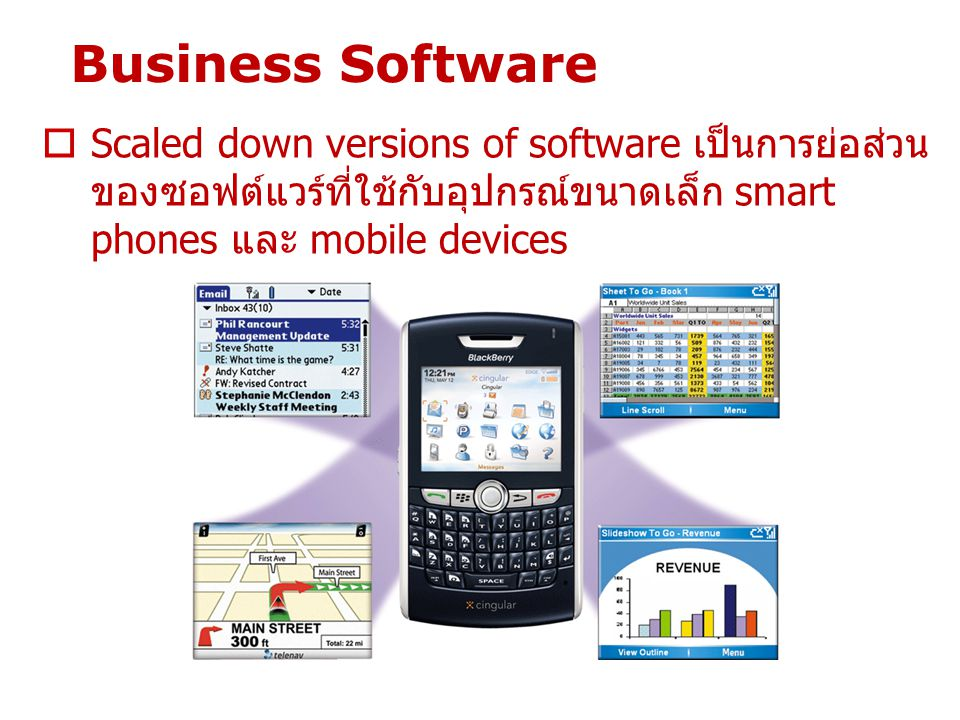 Business Software Scaled down versions of software เป็นการย่อส่วนของซอฟต์แวร์ที่ใช้กับอุปกรณ์ขนาดเล็ก smart phones และ mobile devices.