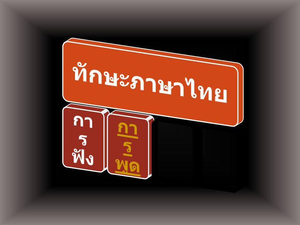 ทักษะภาษาไทย การฟัง การพูด