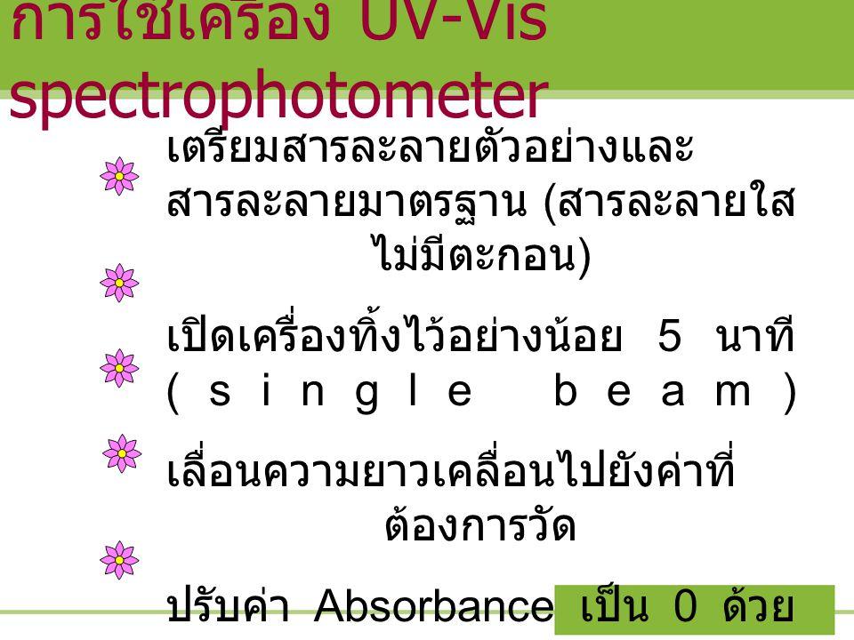 การใช้เครื่อง UV-Vis spectrophotometer