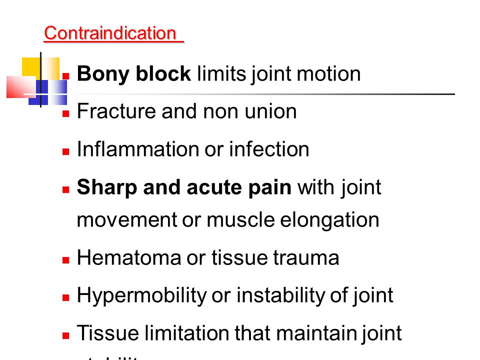 Bony block limits joint motion Fracture and non union