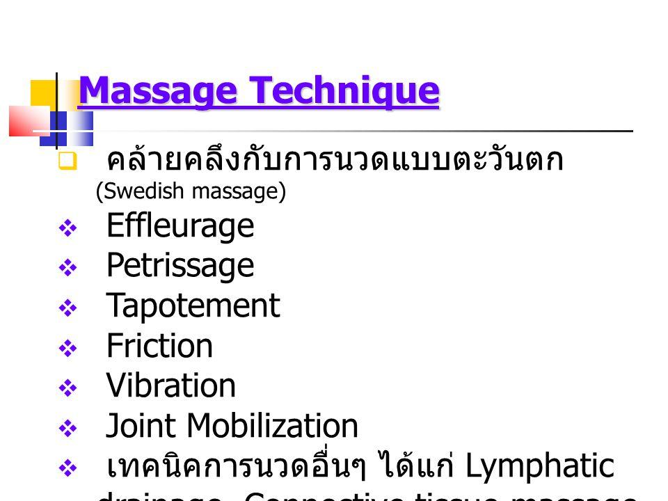 Massage Technique คล้ายคลึงกับการนวดแบบตะวันตก (Swedish massage)