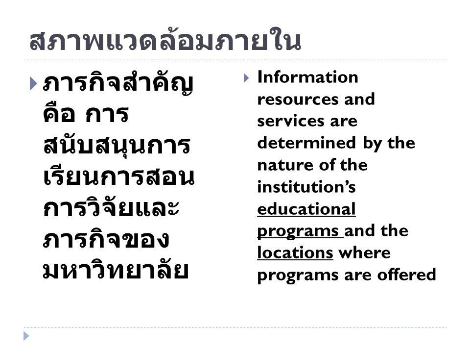 สภาพแวดล้อมภายใน ภารกิจสำคัญ คือ การ สนับสนุนการเรียนการ สอน การวิจัยและ ภารกิจของ มหาวิทยาลัย.