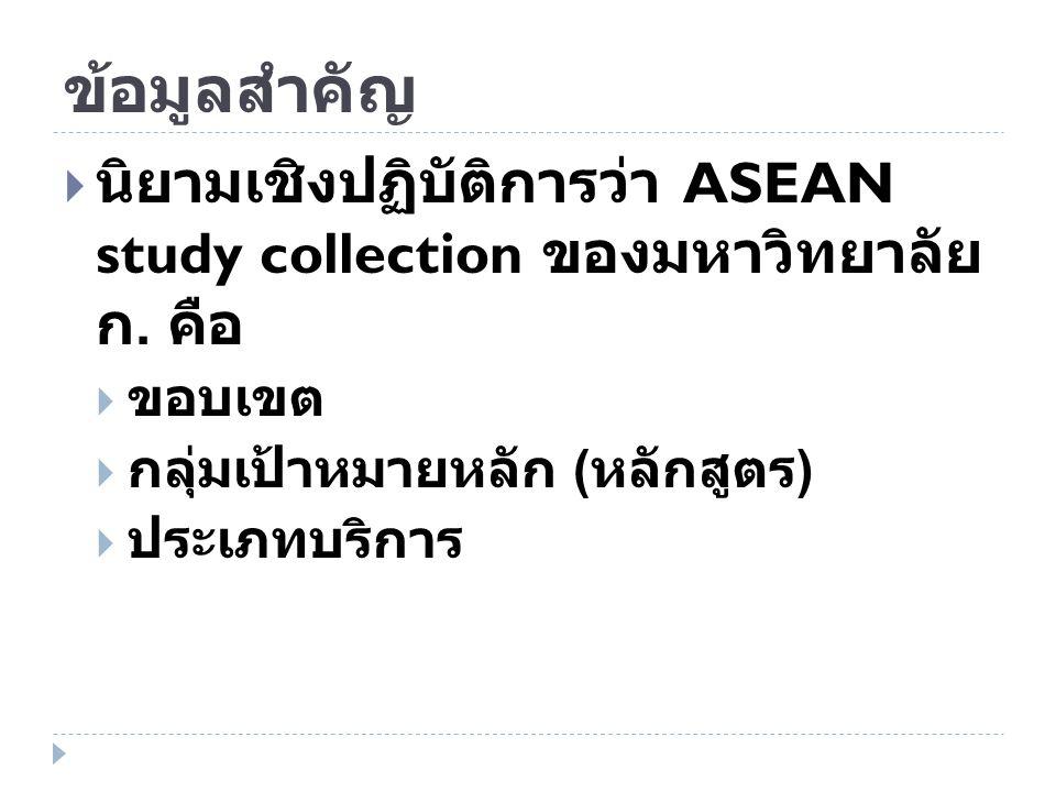 ข้อมูลสำคัญ นิยามเชิงปฏิบัติการว่า ASEAN study collection ของมหาวิทยาลัย ก. คือ. ขอบเขต. กลุ่มเป้าหมายหลัก (หลักสูตร)