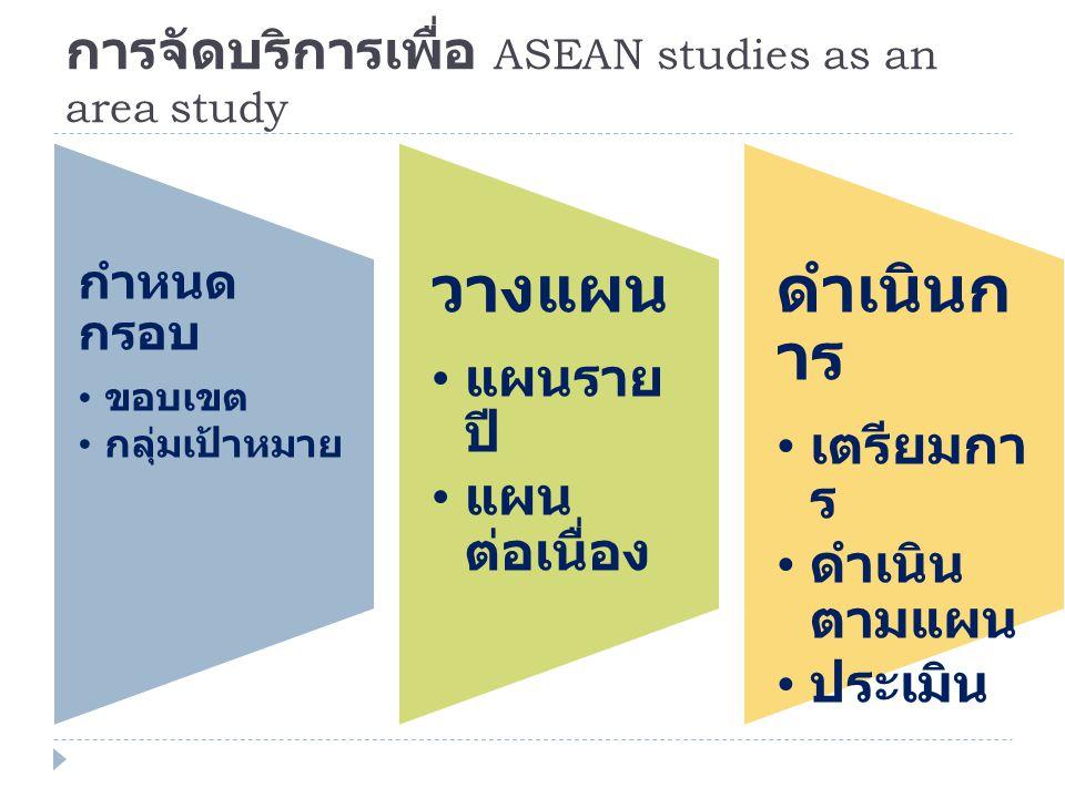 การจัดบริการเพื่อ ASEAN studies as an area study