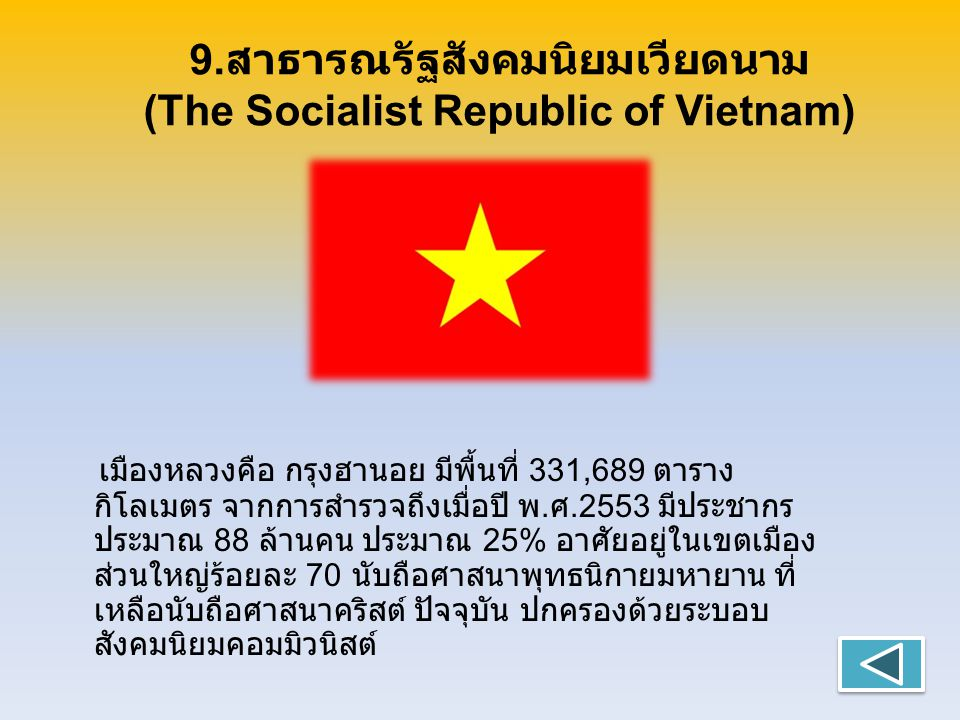 9.สาธารณรัฐสังคมนิยมเวียดนาม (The Socialist Republic of Vietnam)