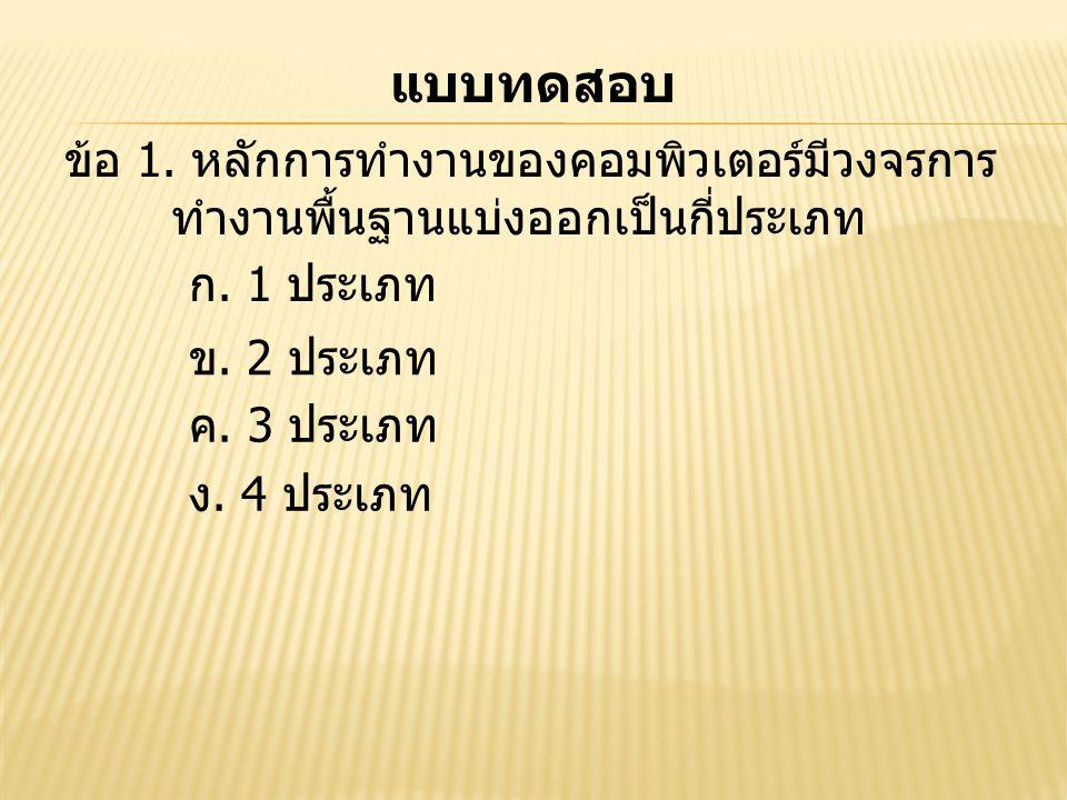 แบบทดสอบ ข้อ 1. หลักการทำงานของคอมพิวเตอร์มีวงจรการ ทำงานพื้นฐานแบ่งออกเป็นกี่ประเภท. ก. 1 ประเภท.
