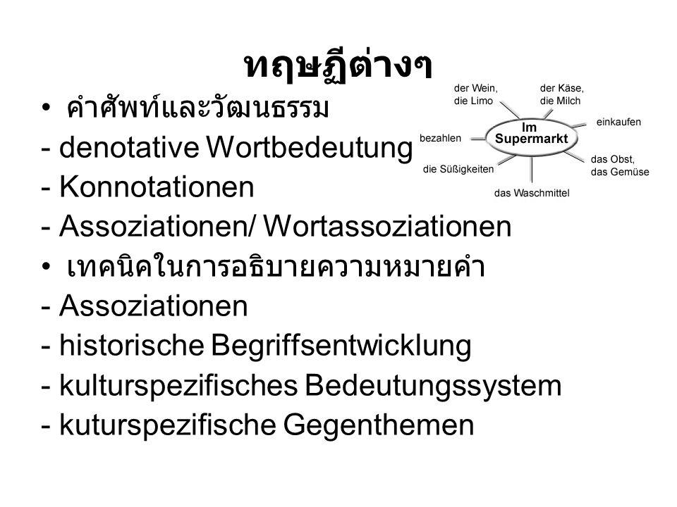 ทฤษฏีต่างๆ คำศัพท์และวัฒนธรรม - denotative Wortbedeutung