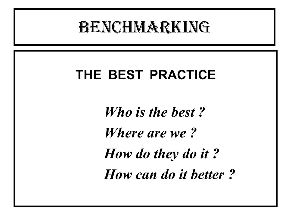 BENCHMARKING THE BEST PRACTICE Who is the best Where are we