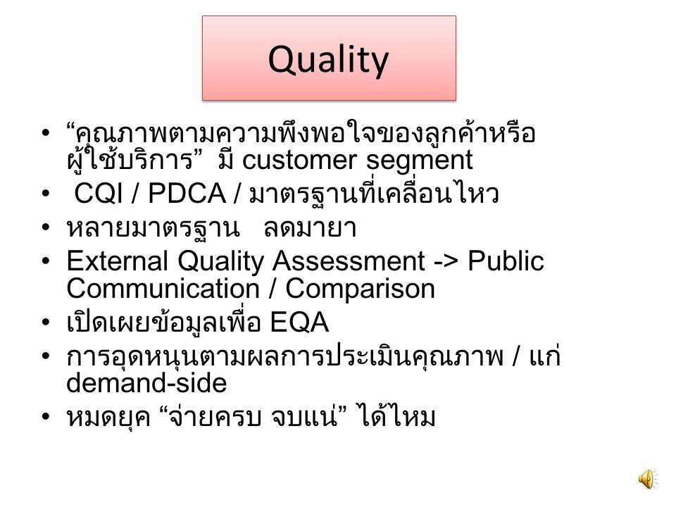 Quality คุณภาพตามความพึงพอใจของลูกค้าหรือผู้ใช้บริการ มี customer segment. CQI / PDCA / มาตรฐานที่เคลื่อนไหว.