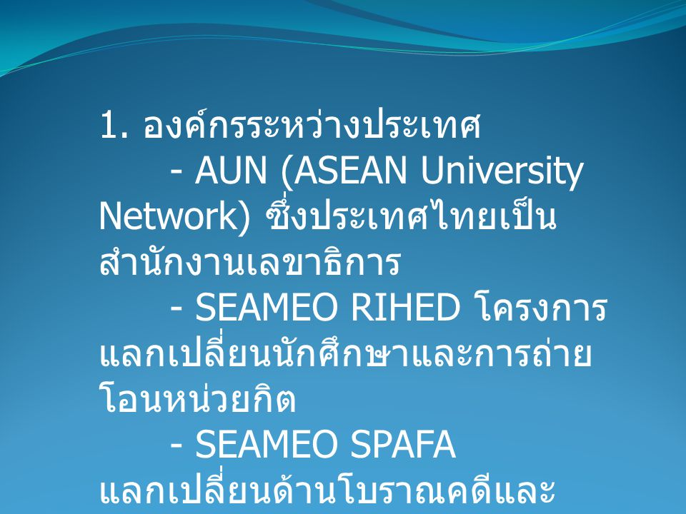 1. องค์กรระหว่างประเทศ - AUN (ASEAN University Network) ซึ่งประเทศไทยเป็นสํานักงานเลขาธิการ.