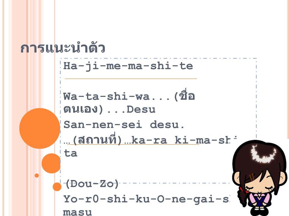 การแนะนำตัว Ha-ji-me-ma-shi-te Wa-ta-shi-wa...(ชื่อ ตนเอง)...Desu