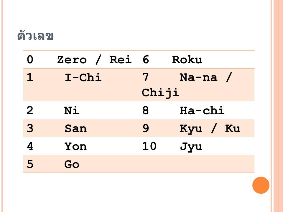 ตัวเลข 0 Zero / Rei 6 Roku 1 I-Chi 7 Na-na / Chiji 2 Ni 8 Ha-chi 3 San