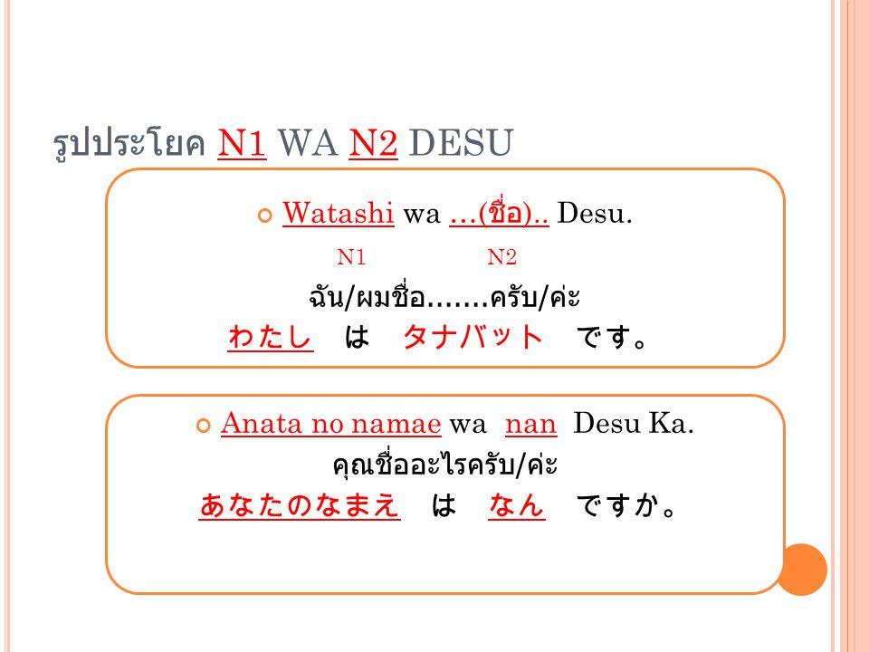 รูปประโยค N1 WA N2 DESU Watashi wa …(ชื่อ).. Desu. N1 N2