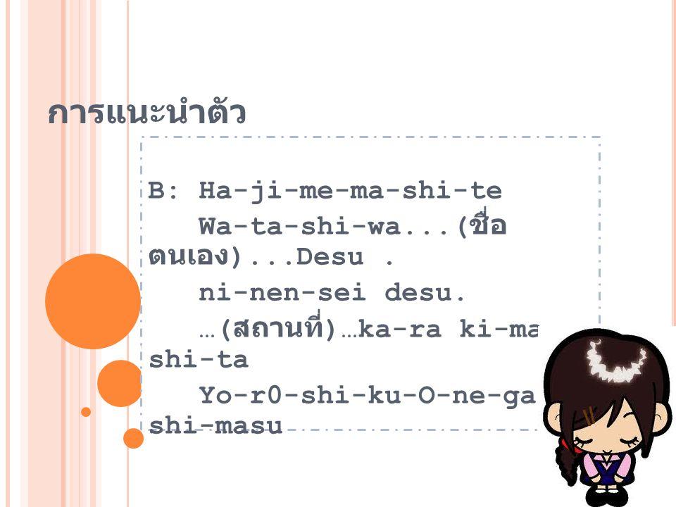 การแนะนำตัว B: Ha-ji-me-ma-shi-te Wa-ta-shi-wa...(ชื่อ ตนเอง)...Desu .