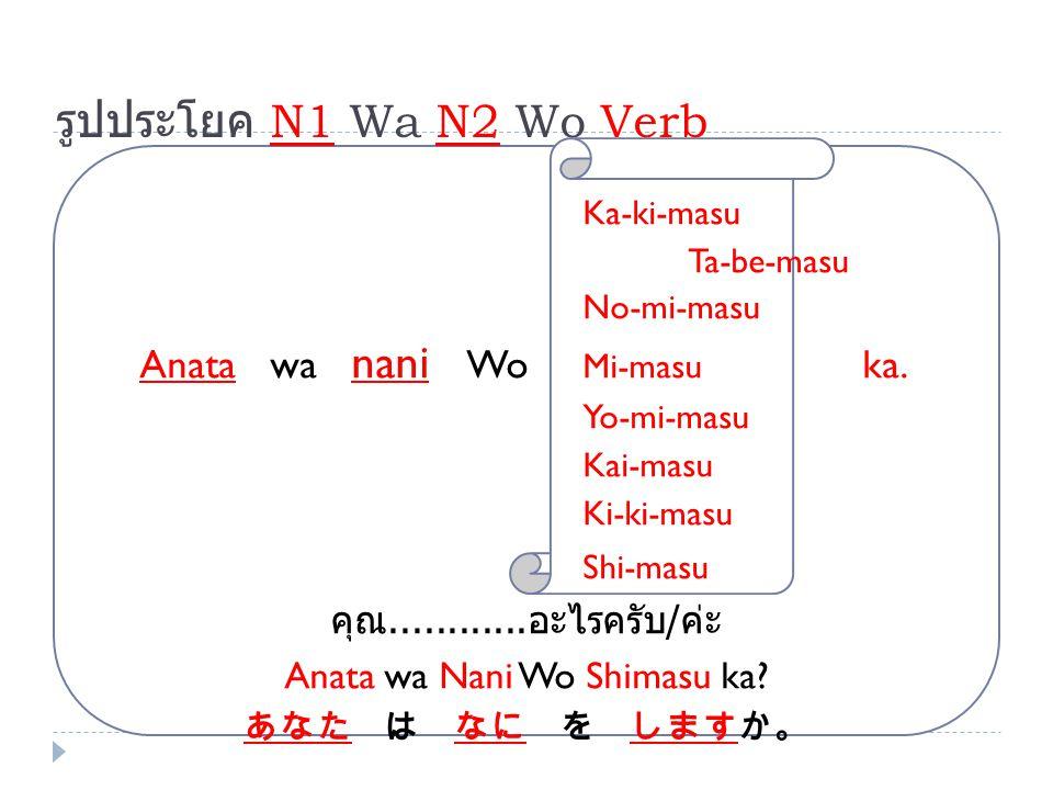 Anata wa Nani Wo Shimasu ka