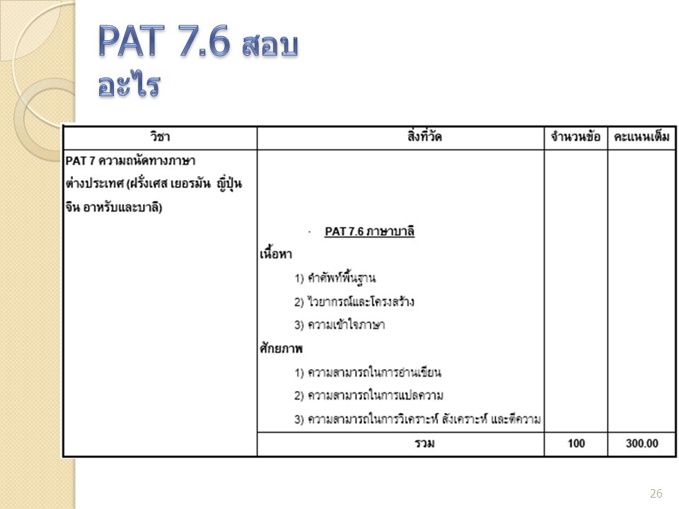 PAT 7.6 สอบอะไร