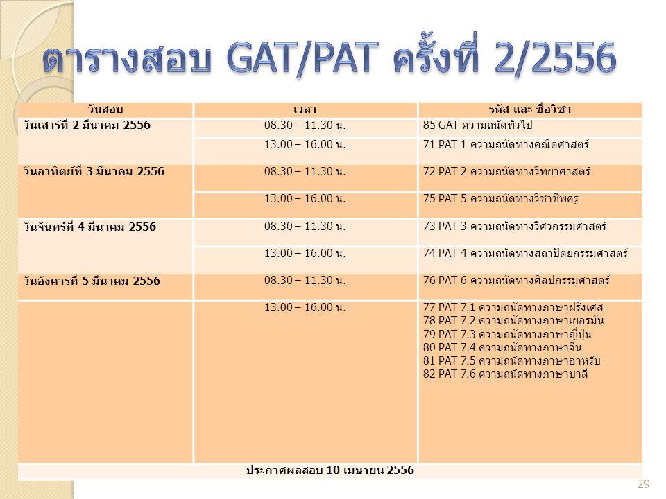 ตารางสอบ GAT/PAT ครั้งที่ 2/2556