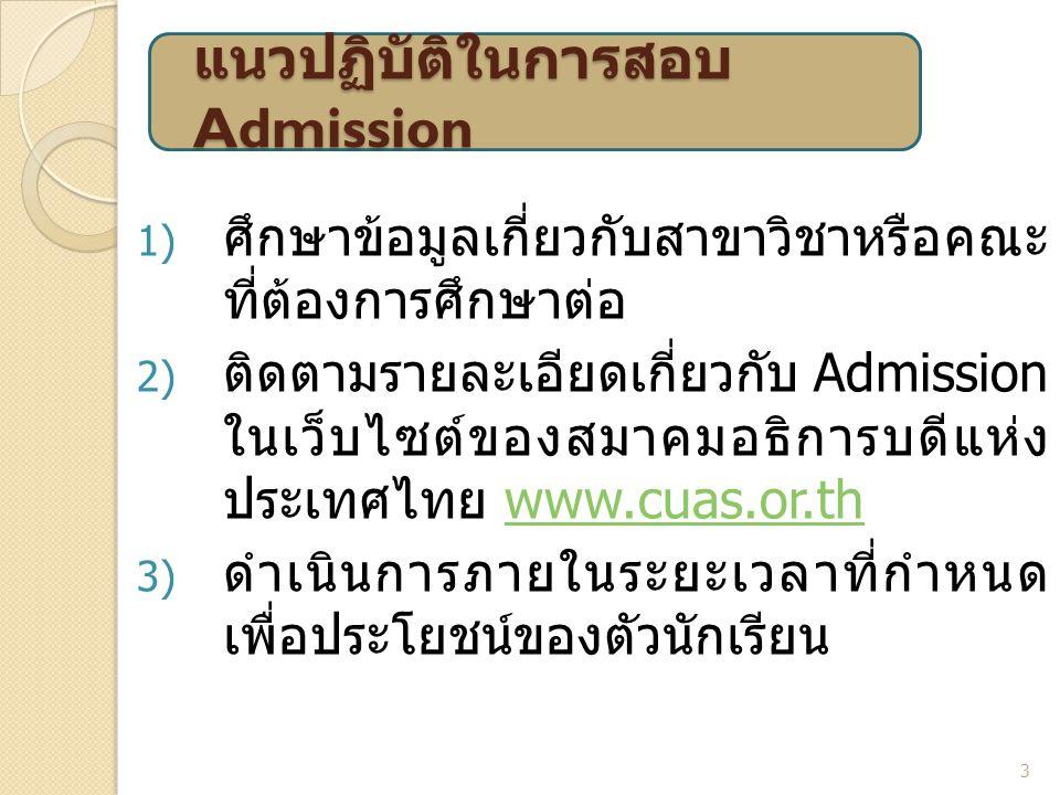 แนวปฏิบัติในการสอบ Admission