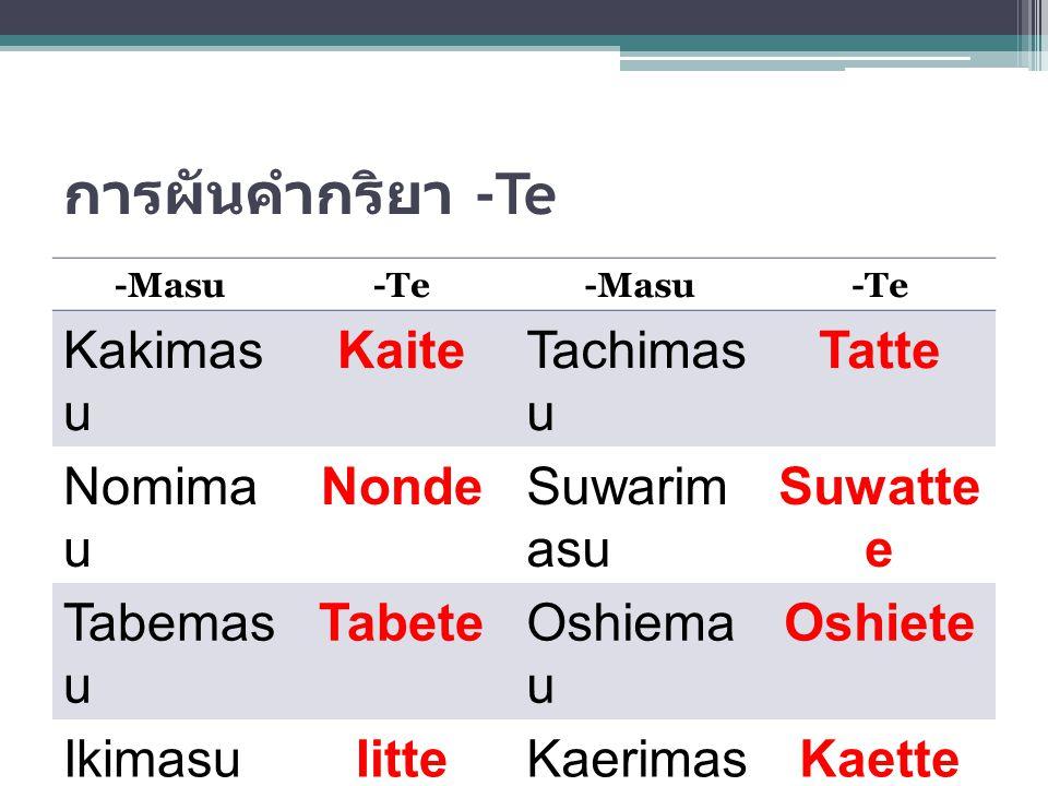 การผันคำกริยา -Te Kakimasu Kaite Tachimasu Tatte Nomimasu Nonde