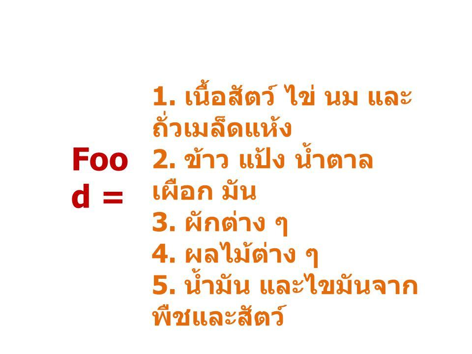 Food = 1. เนื้อสัตว์ ไข่ นม และถั่วเมล็ดแห้ง