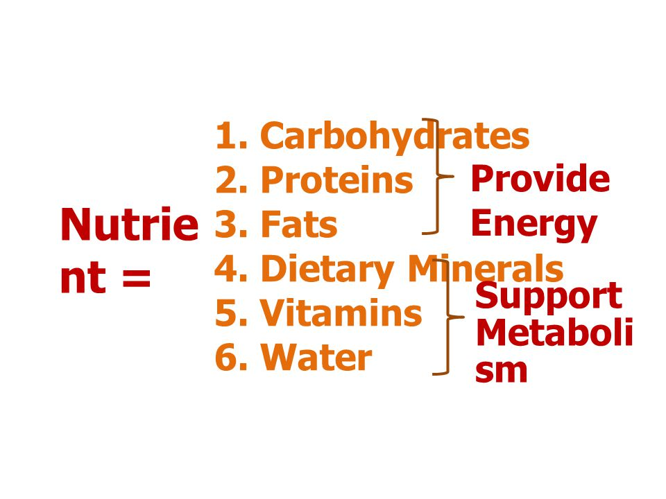 Nutrient = 1. Carbohydrates 2. Proteins 3. Fats Provide Energy