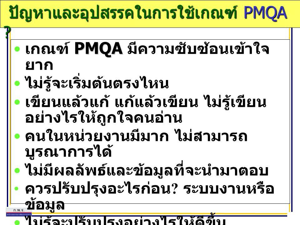 ปัญหาและอุปสรรคในการใช้เกณฑ์ PMQA