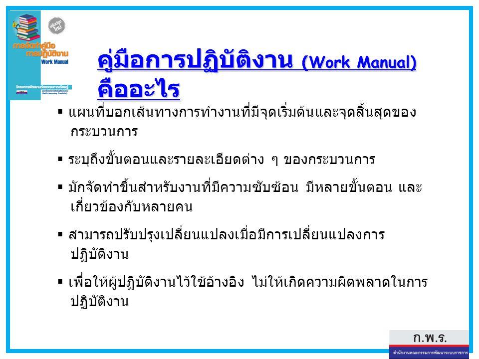 คู่มือการปฏิบัติงาน (Work Manual) คืออะไร