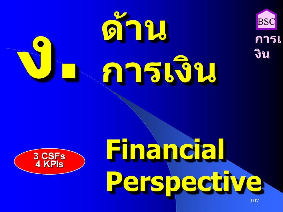 ง. ด้าน การเงิน BSC การเงิน Financial Perspective 3 CSFs 4 KPIs