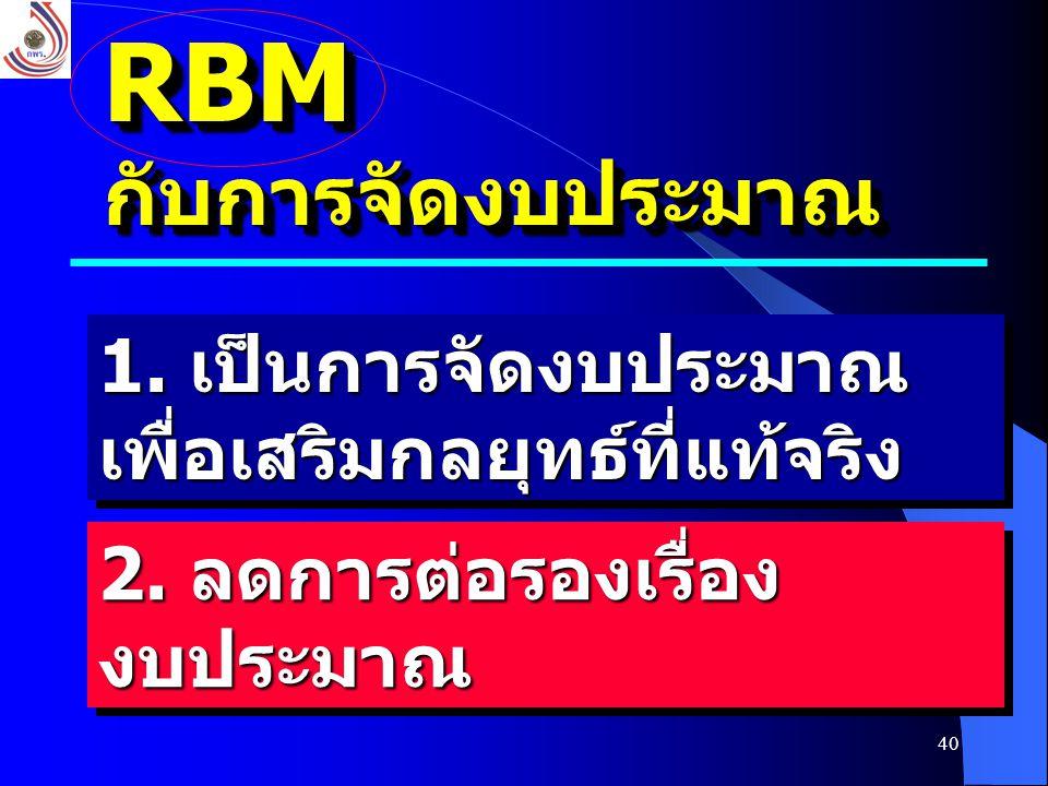 RBM กับการจัดงบประมาณ 1. เป็นการจัดงบประมาณเพื่อเสริมกลยุทธ์ที่แท้จริง