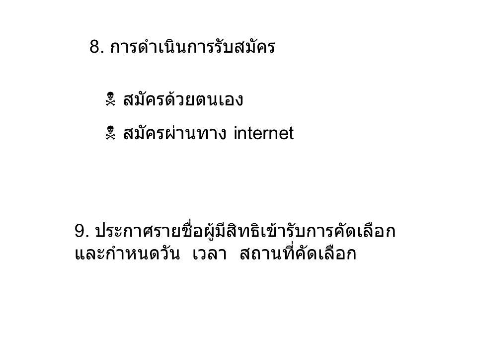 8. การดำเนินการรับสมัคร