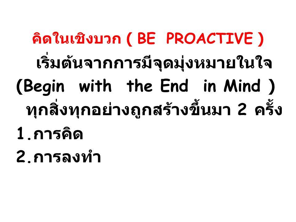 คิดในเชิงบวก ( BE PROACTIVE )