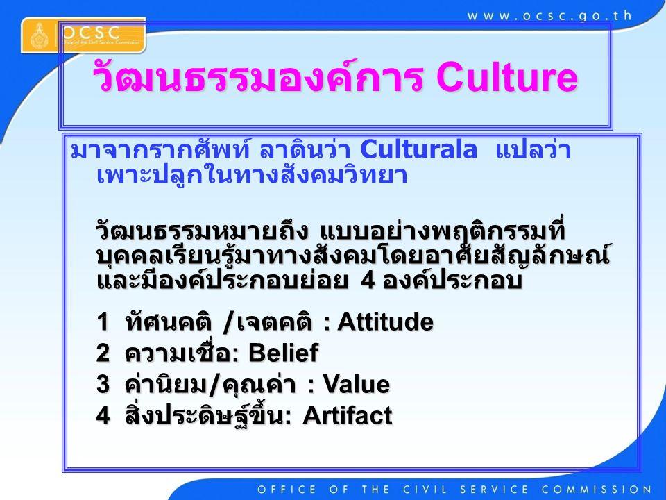 วัฒนธรรมองค์การ Culture