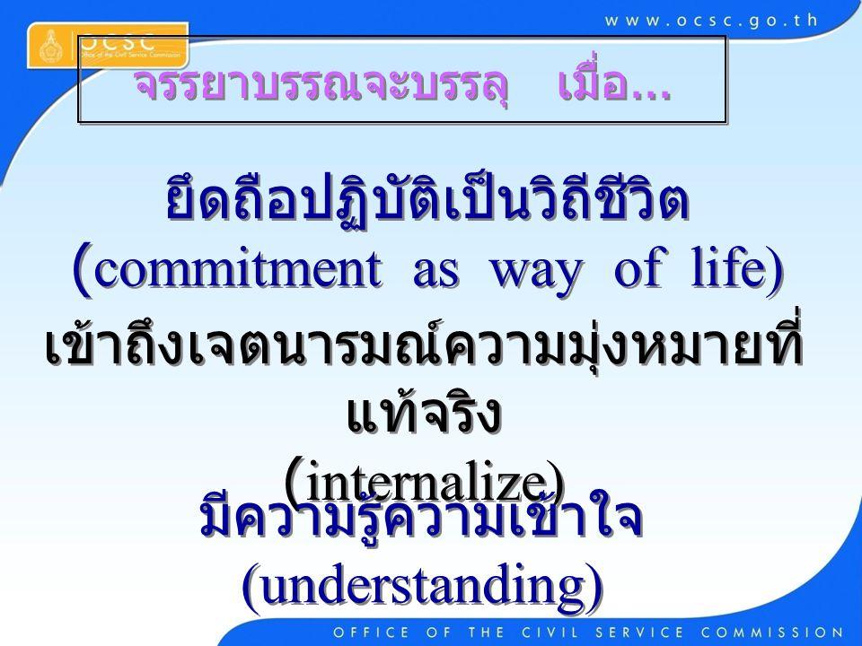 ยึดถือปฏิบัติเป็นวิถีชีวิต (commitment as way of life)