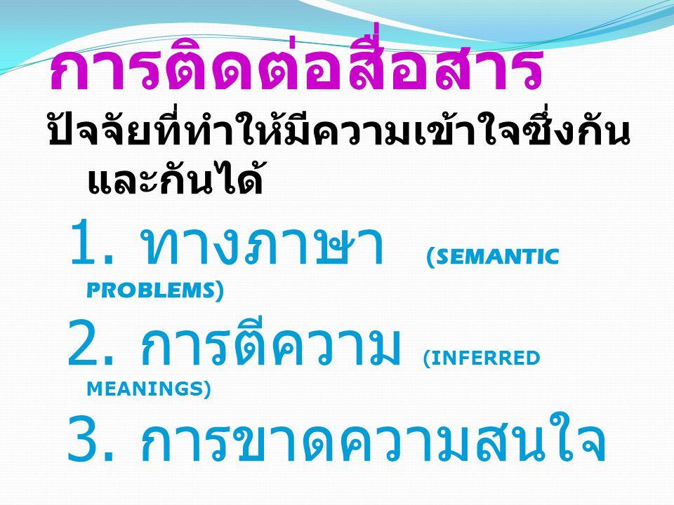 การติดต่อสื่อสาร 1. ทางภาษา (SEMANTIC PROBLEMS)