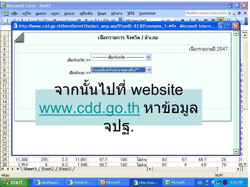 จากนั้นไปที่ website www.cdd.go.th หาข้อมูล จปฐ.