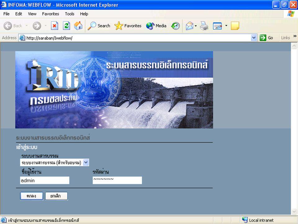 เข้า web browser เช่น Internet Explorer โดยใส่ url http://saraban/Iwebflow/ จะได้หน้าจอ login เข้าระบบ ให้ใส่ ชื่อผู้ใช้งาน และรหัสผ่าน คลิก ตกลง